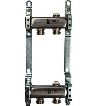 SMS 0923 000002 STOUT Коллектор из нержавеющей стали для радиаторной разводки 2 вых.