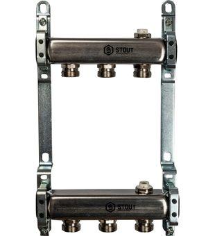SMS 0923 000003 STOUT Коллектор из нержавеющей стали для радиаторной разводки 3 вых.