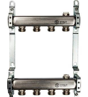 SMS 0923 000004 STOUT Коллектор из нержавеющей стали для радиаторной разводки 4 вых.