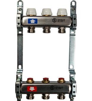 SMS 0922 000003 STOUT Коллектор из нержавеющей стали без расходомеров 3 вых.