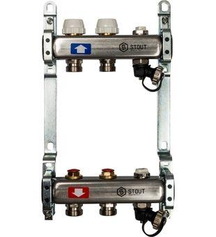 SMS-0932-000002 STOUT Коллектор из нержавеющей стали без расходомеров, с клапаном вып. воздуха и сливом 2 вых.