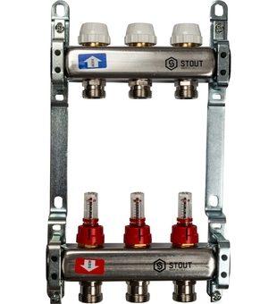 SMS 0917 000003 STOUT Коллектор из нержавеющей стали с расходомерами 3 вых.