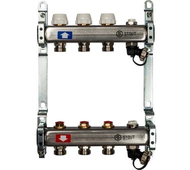 SMS-0932-000003 STOUT Коллектор из нержавеющей стали без расходомеров, с клапаном вып. воздуха и сливом 3 вых.