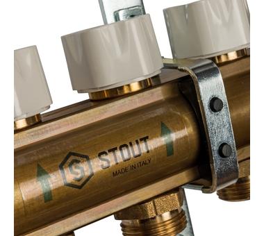 SMB 0473 000004 STOUT Распределительный коллектор из латуни с расходомерами 4 вых.