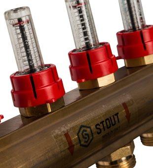 SMB 0473 000006 STOUT Распределительный коллектор из латуни с расходомерами 6 вых.6