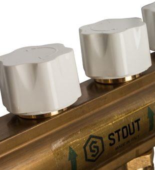 SMB 0473 000006 STOUT Распределительный коллектор из латуни с расходомерами 6 вых.7
