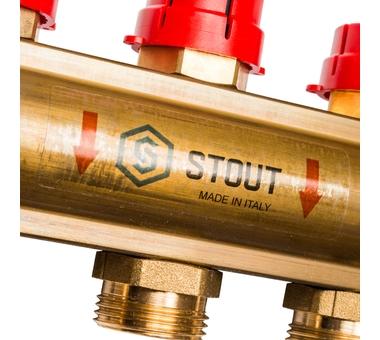 SMB 0473 000009 STOUT Распределительный коллектор из латуни с расходомерами 9 вых.7