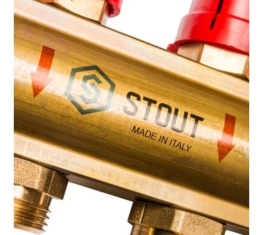 SMB 0473 000010 STOUT Распределительный коллектор из латуни с расходомерами 10 вых.7