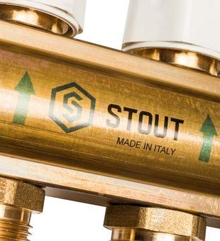 SMB 0473 000010 STOUT Распределительный коллектор из латуни с расходомерами 10 вых.8