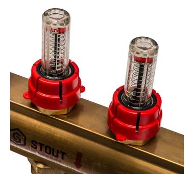 SMB 0473 000011 STOUT Распределительный коллектор из латуни с расходомерами 11 вых.5