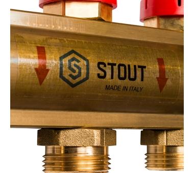 SMB 0473 000011 STOUT Распределительный коллектор из латуни с расходомерами 11 вых.7