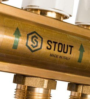 SMB 0473 000011 STOUT Распределительный коллектор из латуни с расходомерами 11 вых.8