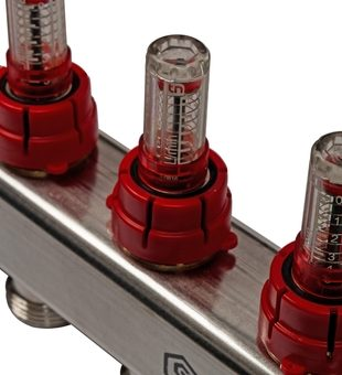 SMS 0907 000010 STOUT Коллектор из нержавеющей стали в сборе с расходомерами 10 вых.8