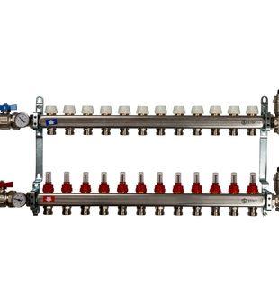 SMS 0907 000012 STOUT Коллектор из нержавеющей стали в сборе с расходомерами 12 вых.