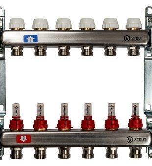 SMS 0917 000006 STOUT Коллектор из нержавеющей стали с расходомерами 6 вых.