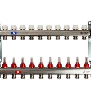 SMS 0917 000010 STOUT Коллектор из нержавеющей стали с расходомерами 10 вых.