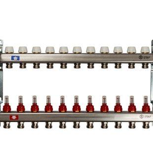 SMS 0917 000011 STOUT Коллектор из нержавеющей стали с расходомерами 11 вых.