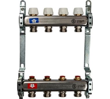 SMS 0922 000004 STOUT Коллектор из нержавеющей стали без расходомеров 4 вых.