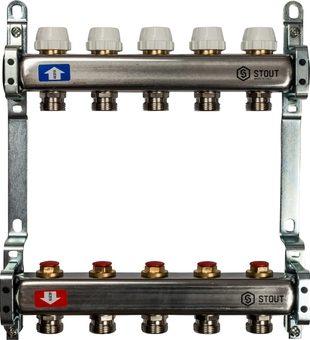 SMS 0922 000005 STOUT Коллектор из нержавеющей стали без расходомеров 5 вых.1
