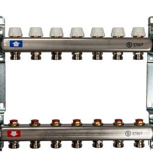 SMS 0922 000007 STOUT Коллектор из нержавеющей стали без расходомеров 7 вых.