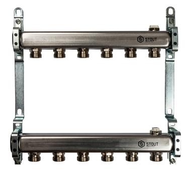 SMS 0923 000006 STOUT Коллектор из нержавеющей стали для радиаторной разводки 6 вых.