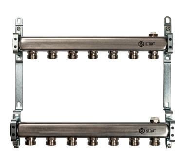 SMS 0923 000007 STOUT Коллектор из нержавеющей стали для радиаторной разводки 7 вых.1