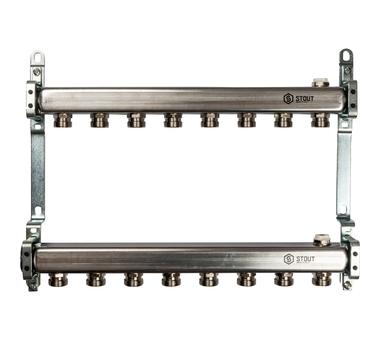 SMS 0923 000008 STOUT Коллектор из нержавеющей стали для радиаторной разводки 8 вых.1