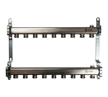 SMS 0923 000009 STOUT Коллектор из нержавеющей стали для радиаторной разводки 9 вых.