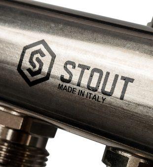 SMS 0923 000012 STOUT Коллектор из нержавеющей стали для радиаторной разводки 12 вых.