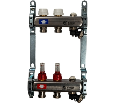 SMS-0927-000002 STOUT Коллектор из нержавеющей стали с расходомерами, с клапаном вып. воздуха и сливом 2 вых.