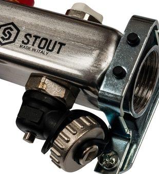 SMS-0927-000002 STOUT Коллектор из нержавеющей стали с расходомерами, с клапаном вып. воздуха и сливом 2 вых.4