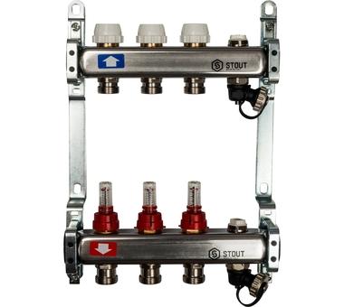 SMS-0927-000003 STOUT Коллектор из нержавеющей стали с расходомерами, с клапаном вып. воздуха и сливом 3 вых.