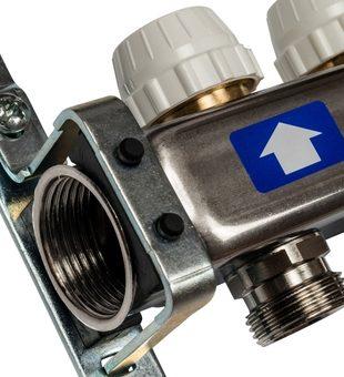 SMS-0927-000003 STOUT Коллектор из нержавеющей стали с расходомерами, с клапаном вып. воздуха и сливом 3 вых.3