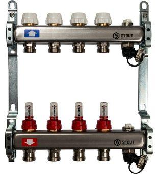 SMS-0927-000004 STOUT Коллектор из нержавеющей стали с расходомерами, с клапаном вып. воздуха и сливом 4 вых.1