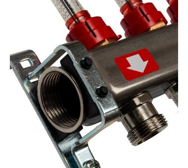 SMS-0927-000004 STOUT Коллектор из нержавеющей стали с расходомерами, с клапаном вып. воздуха и сливом 4 вых.2