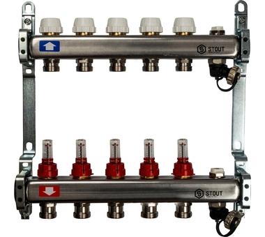 SMS-0927-000005 STOUT Коллектор из нержавеющей стали с расходомерами, с клапаном вып. воздуха и сливом 5 вых.