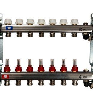 SMS-0927-000007 STOUT Коллектор из нержавеющей стали с расходомерами, с клапаном вып. воздуха и сливом 7 вых.