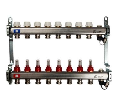 SMS-0927-000008 STOUT Коллектор из нержавеющей стали с расходомерами, с клапаном вып. воздуха и сливом 8 вых.