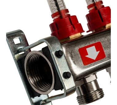 SMS-0927-000008 STOUT Коллектор из нержавеющей стали с расходомерами, с клапаном вып. воздуха и сливом 8 вых.2