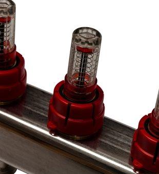 SMS-0927-000008 STOUT Коллектор из нержавеющей стали с расходомерами, с клапаном вып. воздуха и сливом 8 вых.4