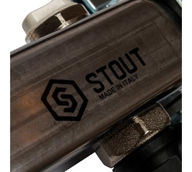 SMS-0927-000008 STOUT Коллектор из нержавеющей стали с расходомерами, с клапаном вып. воздуха и сливом 8 вых.7