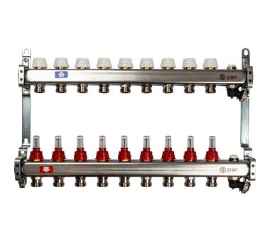 SMS-0927-000009 STOUT Коллектор из нержавеющей стали с расходомерами, с клапаном вып. воздуха и сливом 9 вых.