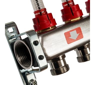 SMS-0927-000009 STOUT Коллектор из нержавеющей стали с расходомерами, с клапаном вып. воздуха и сливом 9 вых.2