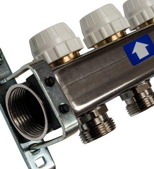 SMS-0927-000009 STOUT Коллектор из нержавеющей стали с расходомерами, с клапаном вып. воздуха и сливом 9 вых.3