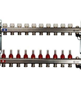 SMS-0927-000010 STOUT Коллектор из нержавеющей стали с расходомерами, с клапаном вып. воздуха и сливом 10 вых.