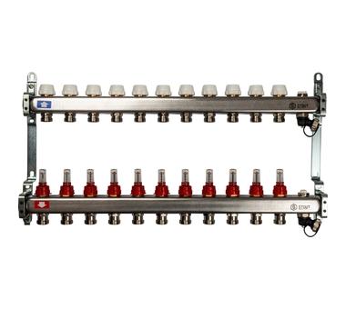 SMS-0927-000011 STOUT Коллектор из нержавеющей стали с расходомерами, с клапаном вып. воздуха и сливом 11 вых.