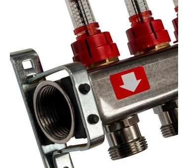 SMS-0927-000011 STOUT Коллектор из нержавеющей стали с расходомерами, с клапаном вып. воздуха и сливом 11 вых.2