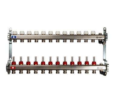SMS-0927-000012 STOUT Коллектор из нержавеющей стали с расходомерами, с клапаном вып. воздуха и сливом 12 вых.