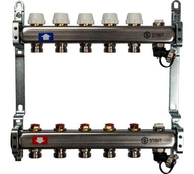 SMS-0932-000005 STOUT Коллектор из нержавеющей стали без расходомеров, с клапаном вып. воздуха и сливом 5 вых.1