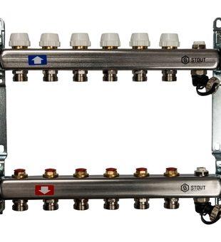 SMS-0932-000006 STOUT Коллектор из нержавеющей стали без расходомеров, с клапаном вып. воздуха и сливом 6 вых.